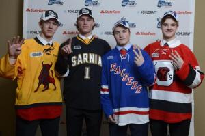 Brandon Saigeon (Belleville, 4th overall), Jakob Chychrun (Sarnia, 1st overall), Adam Mascherin (Kitchener, 2nd overall) and Travis Barron (Ottawa, 3rd pverall) [Terry Wilson/OHL Images]