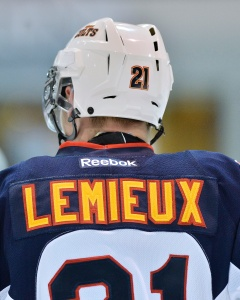 Barrie Colts skilled agitator Brendan Lemieux learnt his skill from NHL father Claude Lemieux (Photo by Terry Wilson / OHL Images)